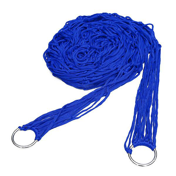 Blue Nylon Hammock Hanging Mesh Sleeping Bed Swing Outdoor Camping