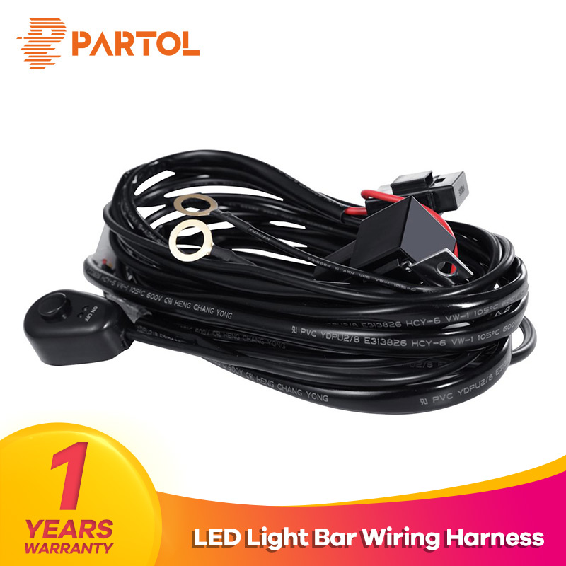 Partol Car Auto Led Work Lamp Driving Lights Wiring Harness Switch DRL Relay Kit Offroad Led Light Bar Wire Cable 40A 12V 24V ...