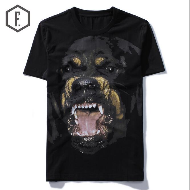 New High 2017 Punk Men Fashion T Shirts Rottweiler Print T Shirt Hip Hop Skateboard