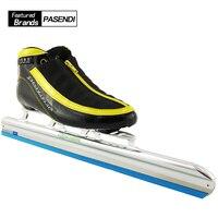2018 Nouveau Professionnel Chaussures de Skate de Vitesse Longue Piste GLACE Lame bottes Adultes Enfants Avenue De Patinage Patins Glace Lame 380mm 410mm 430mm