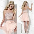 Custom Made Illusion Neck Two Piece Prom Dress Beaded Top Blush Light Pink Homecoming Dresses 8th Grade Short Prom Dresses