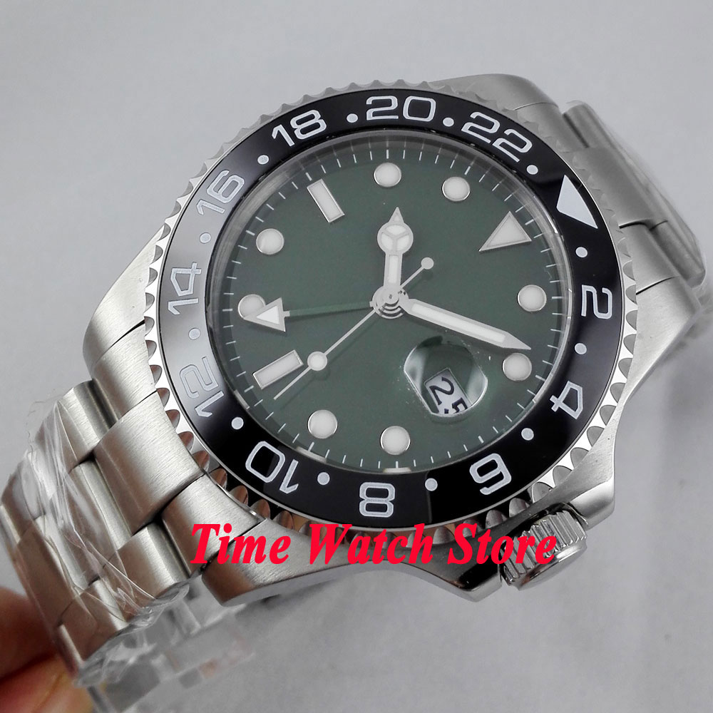 Bliger 43mm green Sterile dial GMT black Ceramic Bezel sapphire glass Automatic movement  Mens watch 296Bliger 43mm green Sterile dial GMT black Ceramic Bezel sapphire glass Automatic movement  Mens watch 296
