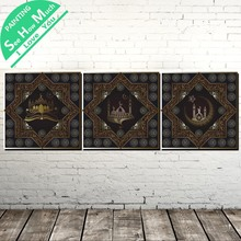 3 Piece Islamic Holy Land Modern Wall Art Canvas Painting Posters and Prints Framed Pictures for Decoration Home