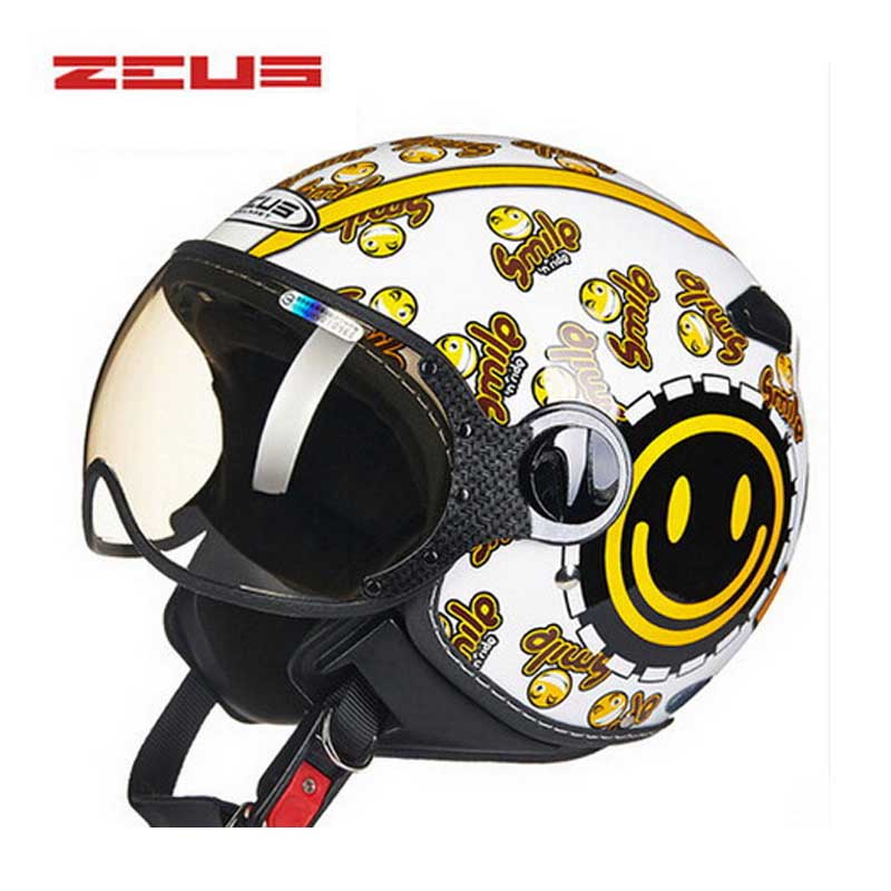DOT beautiful smile ZEUS ZS-210c 3/4 open face motorcycle helmet , black yellow motorbike motocross moto helmet lovers juicy dot zeus zs 210c half face motorcycle helmet motorbike moto motocross helmets for women and men scoote dirt bike