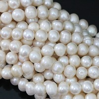 High Grade White Natural Freshwater Cultured Round Pearl Charms Diy Women Jewelry Loose Beads 15inch B1395