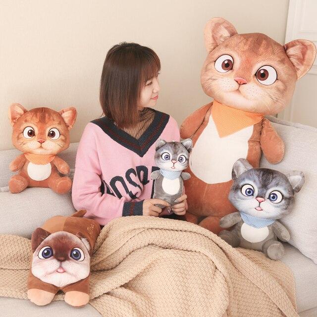 Drop shipping 3D Impressão Bonito gato de pelúcia boneca de brinquedo de pelúcia brinquedos de presente da menina da boneca travesseiro para dormir