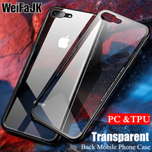 цена на WeiFaJK Hard PC & TPU Case For iPhone 7 7 Plus 8 6 6s Soft Silicone Frame Transparent Back Case For iPhone X 8 7 6 6s Plus Case