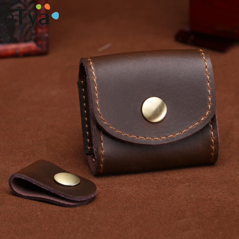 ETya Mini Fashion Coin Purse Vintage Men Women Genuine Leather Wallet Multifunctional Female Small Coin Bag Key Pocket Wallets