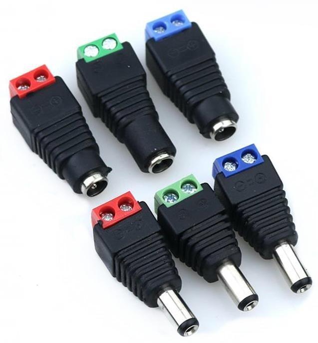 1 Sets  Male + Female 12V 2.1x5.5MM DC Power Jack Plug Audio AUX Free Welding Socket Connector