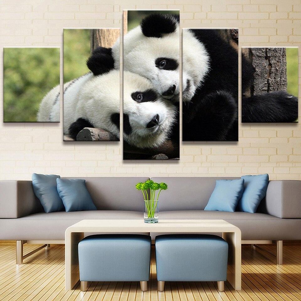 Tuval Boyama Resimleri 5 Adet Panda Hayvan Güzel Yaratıcı Duvar Sanat Baskılar Modüler Poster Için Oturma Odası Ev Dekorasyon