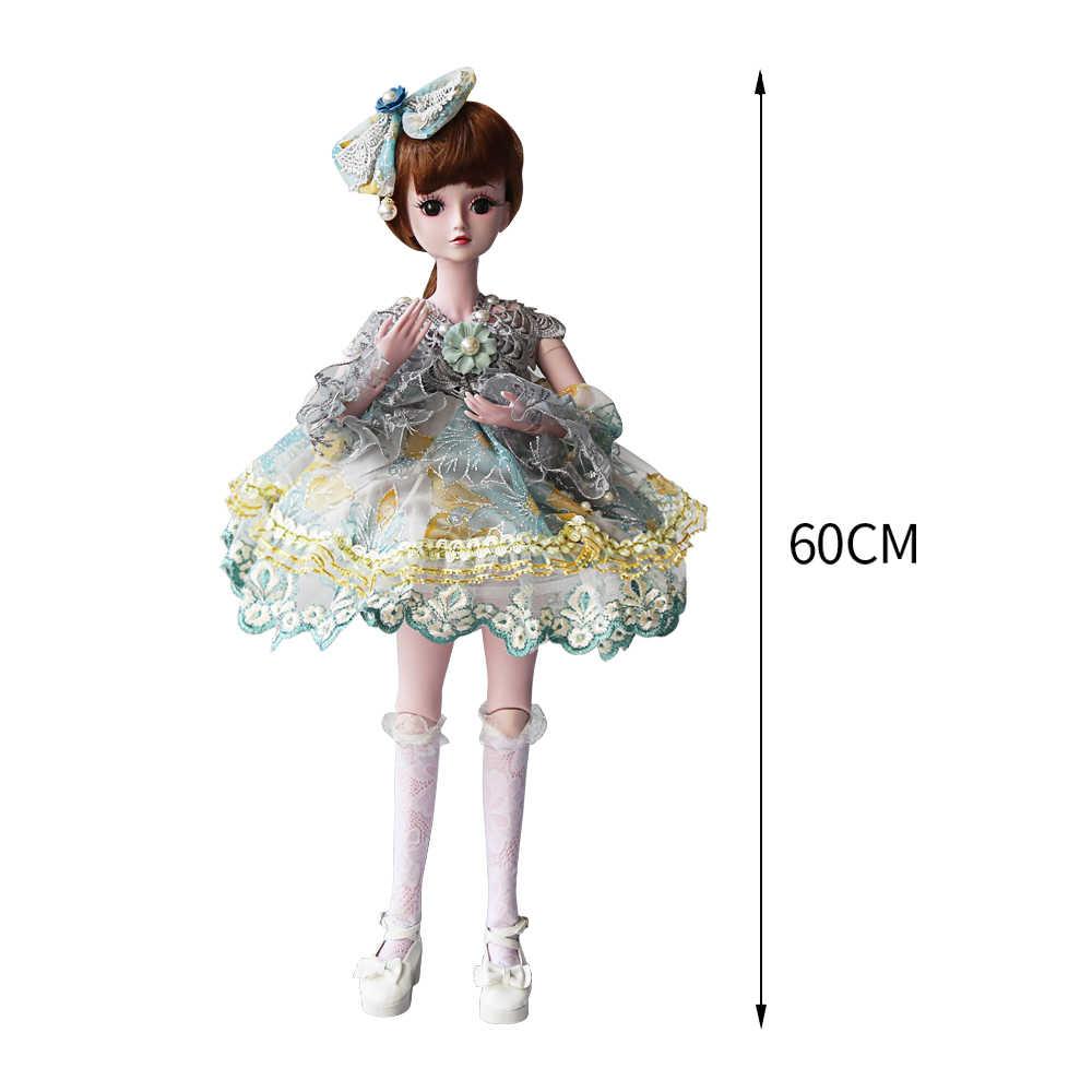 UCanaan 23.6 ''Bonecas SD BJD com 19 Juntas de Bola Roupas Outfit Sapatos Peruca de Cabelo e Maquiagem para As Meninas Do Presente e coleção de bonecas