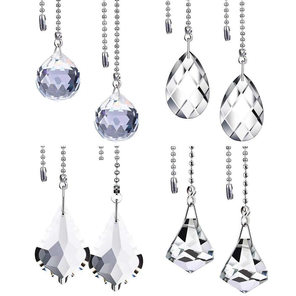 Clear Crystal Pull Chain Extension With Connector For Ceiling Light Fan Chain Suncatcher Prism Lighting Crystal Pendants