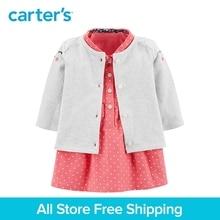 2pcs polka dot kitty face with 3D ears Dress Cardigan Set Carter s baby girl fall