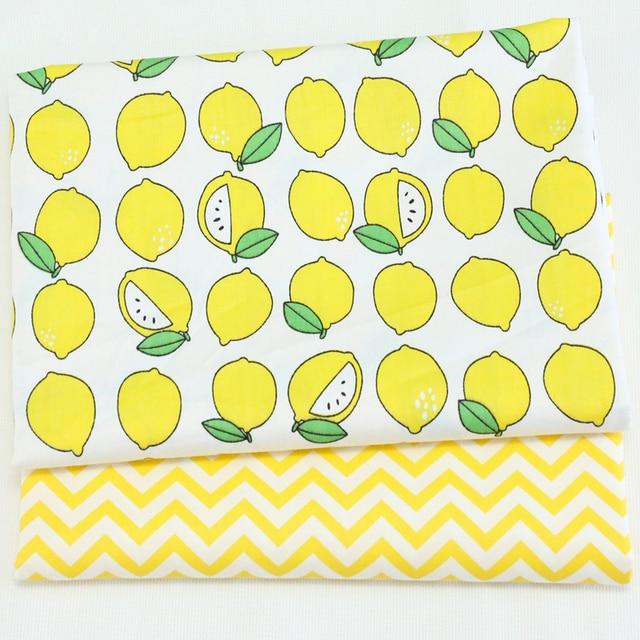 Jaune citron Twill coton tissu bricolage couture bébé le tissu Quilting enfant literie textile patchwork bricolage tecido tissu d'impression tissu