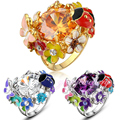 Mytys Multi colour Crystal Flower ring  gold plated color ring Fashion women Jewelry R22 R820 R821