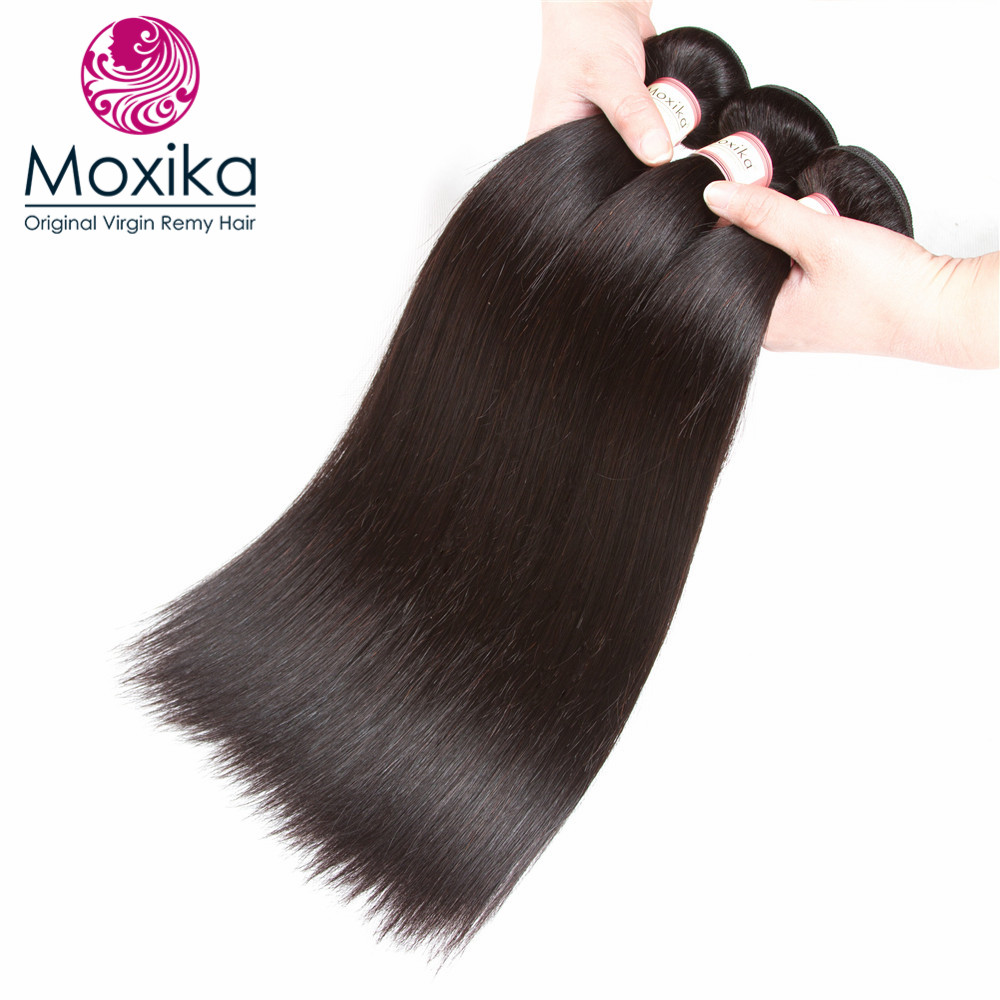 Moxika Unprocessed Brazilian Virgin Hair Straight 3bundles Natural Color 100% Straight Virgin Human Hair Weaves 3pcs 8-28Inch ...