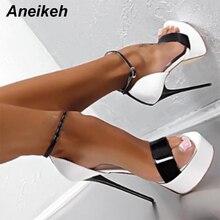 Aneikeh/Большие размеры 41, 42, 43, 44, 45, 46, босоножки женская обувь на платформе пикантные туфли для ночного клуба на высоком каблуке 16 см, с открытым носком, с пряжкой, красного цвета