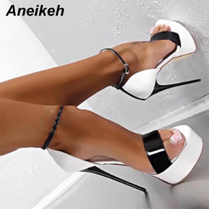 Aneikeh Büyük Ayakkabı Boyutu 41 42 43 44 45 46 Sandalet Kadın platform ayakkabılar Seksi 16 CM Yüksek Topuklu Burnu açık toka Gece Kulübü Ayakkabı kırmızı