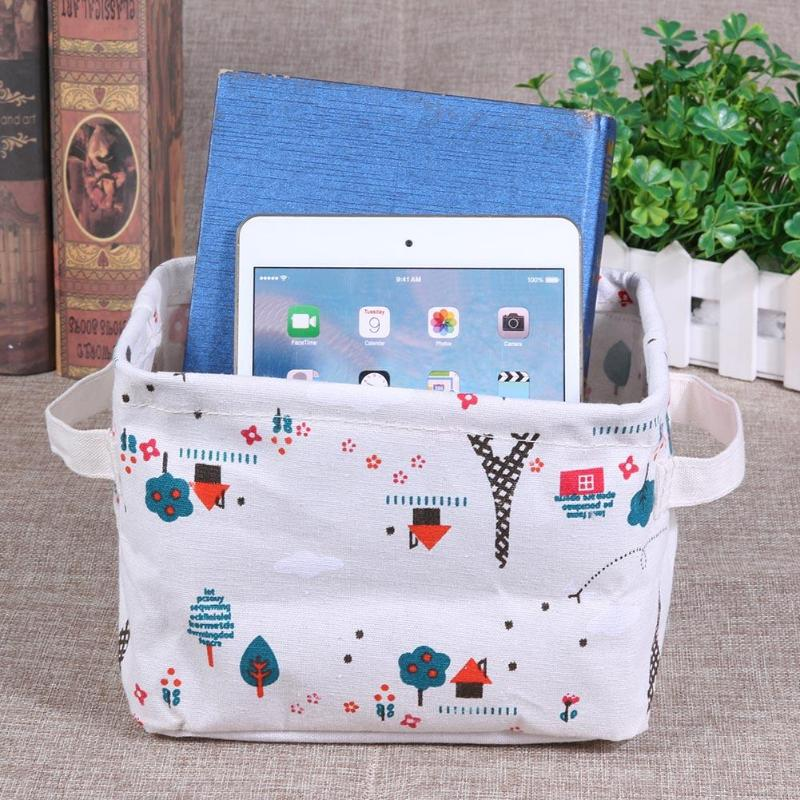 Storage Basket DIY Desktop Folding Linen Toy Storage Box Pastoral Floral Animal Jewelry Makeup Organizer
