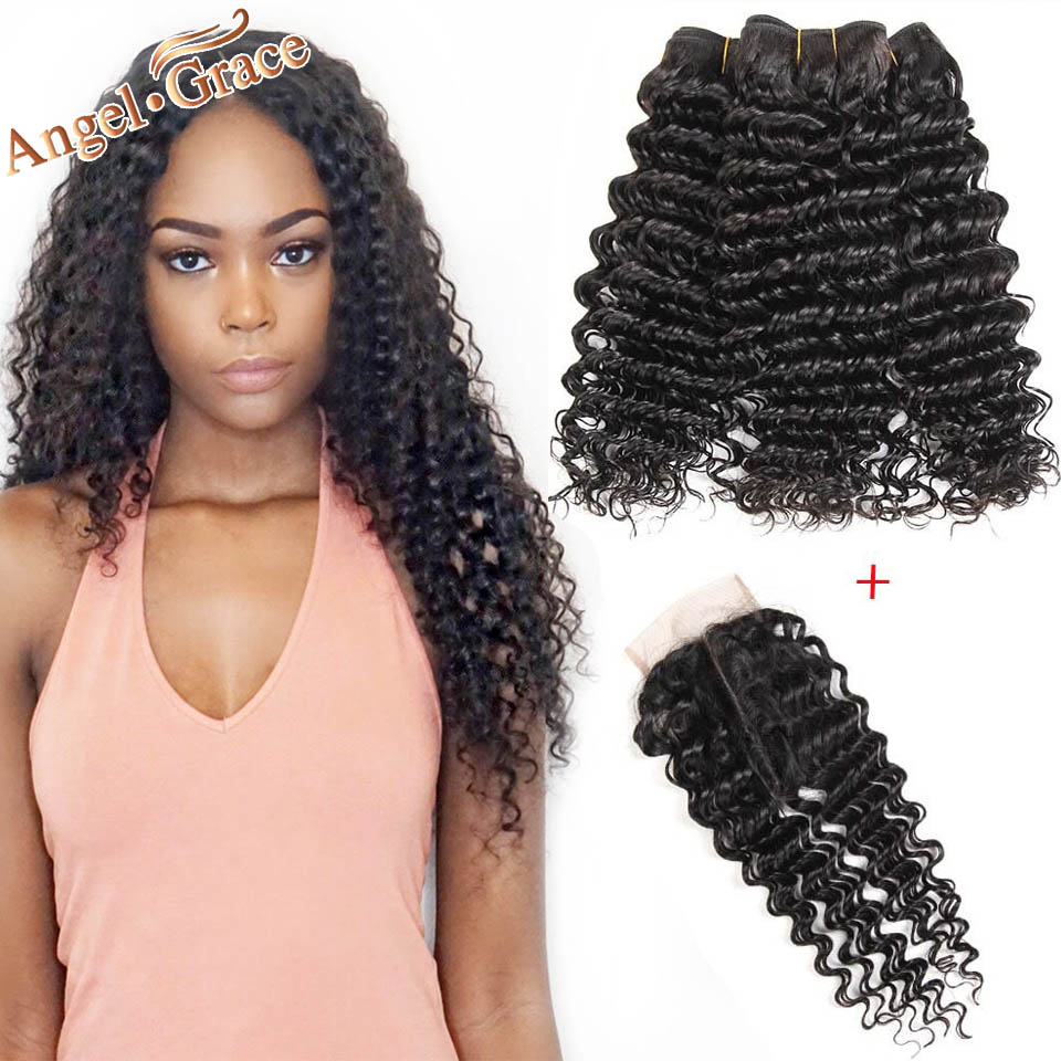 Brazilian Deep Wave Bundles With Closure Angel Grace Hair 3 Bundles With Closure Remy Human Hair Brazilian Hair Weave Bundles