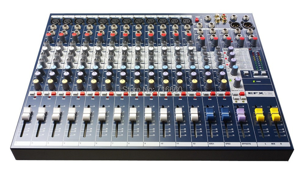 High Quality EFX12 Live Sound Mixer 12 Mono 2 Stereo channel Mixer with Built in 24