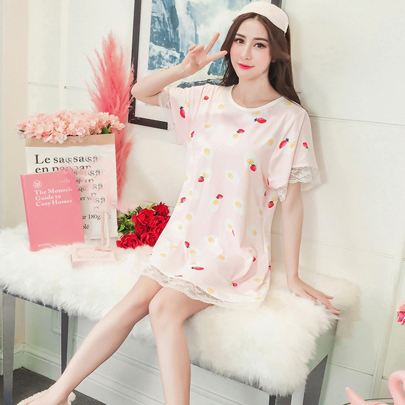 Pink Gorgeous Gorgeous Ladies Short Sleeved Floral Print Mid Length Nightdress