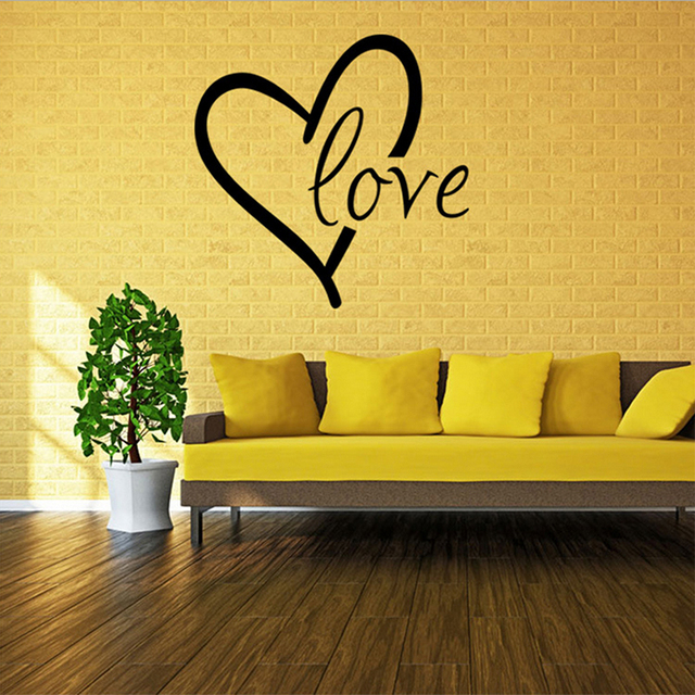 3D Love Heart Black Color Living Room Vinyl Wall Stickers for Kids ...