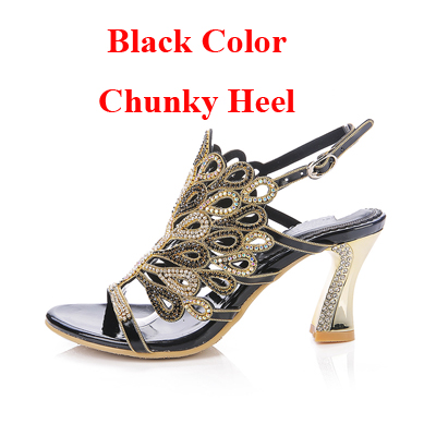 147c1314139 Silver Sandals Rhinestone Chunky Heel Genuine Leather Sexy Wedding Shoes  Prom Evening Party Dress Shoes 3 Inches Heels Plus Size-in High Heels from  Shoes on ...