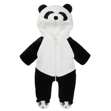 Winter baby panda shape Romper Jumpsuit Siamese thickened infant hooded climb clothes