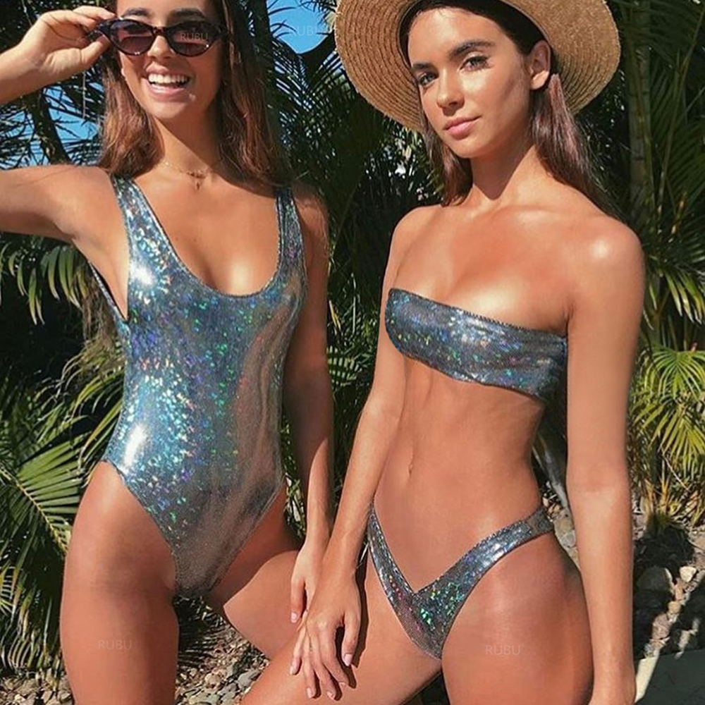 Sexy Leather Sequins Bikini Set Bikinis Bling Swimsuit Women Thong Swimwear 2018 Monokini Female Push Up Biquini Maillot De Bain