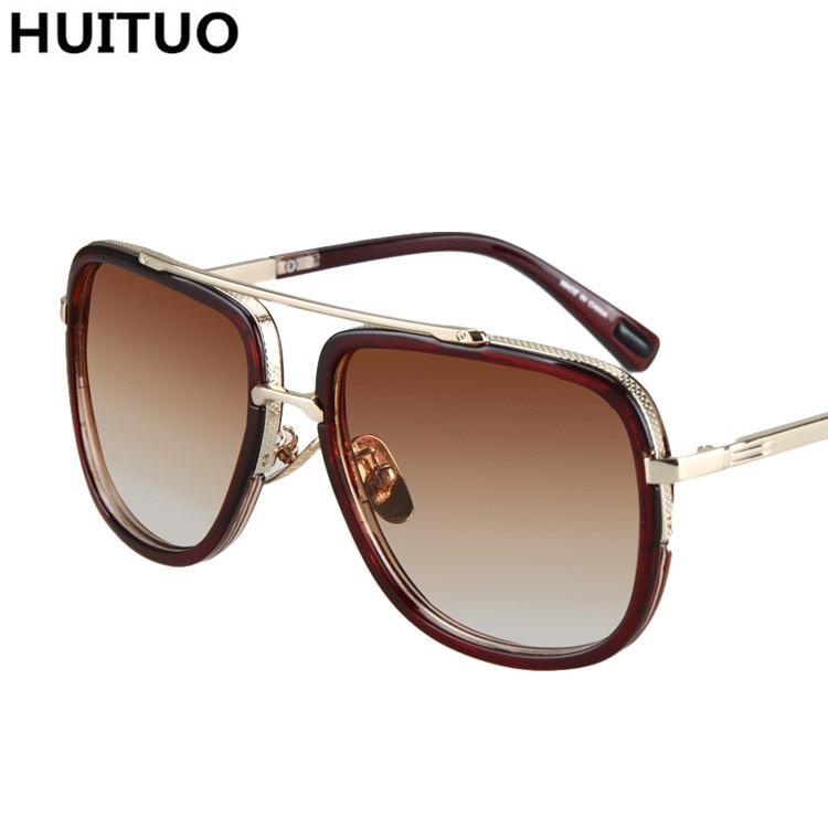 c4775f517a2 HUITUO Retro Luxury Brand Designer Sunglasses Men Flat Top Sun Glasses for Women  Vintage Square Metal Female Sunmmer Gradual-in Sunglasses from Apparel ...