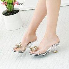 AicciAizzi Women Summer High Heel Sandals Shine Transparent Shoes Women Gold Slipper Beach Crystal Ladies Footwear Size 30-43