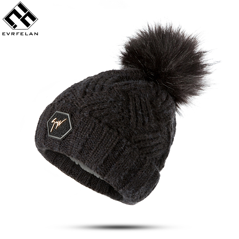 Evrfelan Brand Design Thick Warm Winter Hat Pompoms For Women Solid Color   Skullies     Beanies   Hat Girls Knitting Winter Bonnet