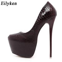 Eilyken New Snakeskin Pumps 16 CM high With Club high heels Sexy high heeled shoes Women Pumps Big size 40