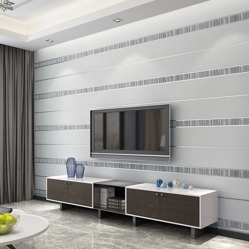 Modern 3D Stereoscopic Striped Non Woven Wallpaper For Living Room Bedroom TV Background Wall Decor Wall Paper Rolls Silver Gray