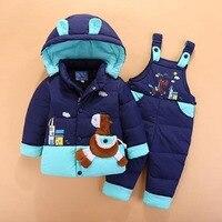 Kinder Schneeanzug Baby Jungen Mädchen Winter Warme Daunenjacke Parka Anzug Gesetzt Dicken Mantel + Overall Kleidung Set Kinder schnee Tragen