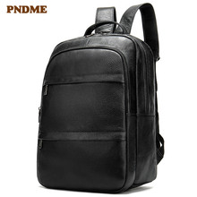 PNDME genuine leather Mens shoulder bag large capacity 14 inch laptop outdoor black waterproof soft travel backpack
