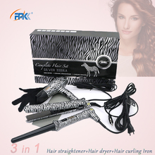 FMK Professional Styling tool Set Hair straightener flat iron+Hair dryer+Curling Iron flat irons wand hot curler european plug