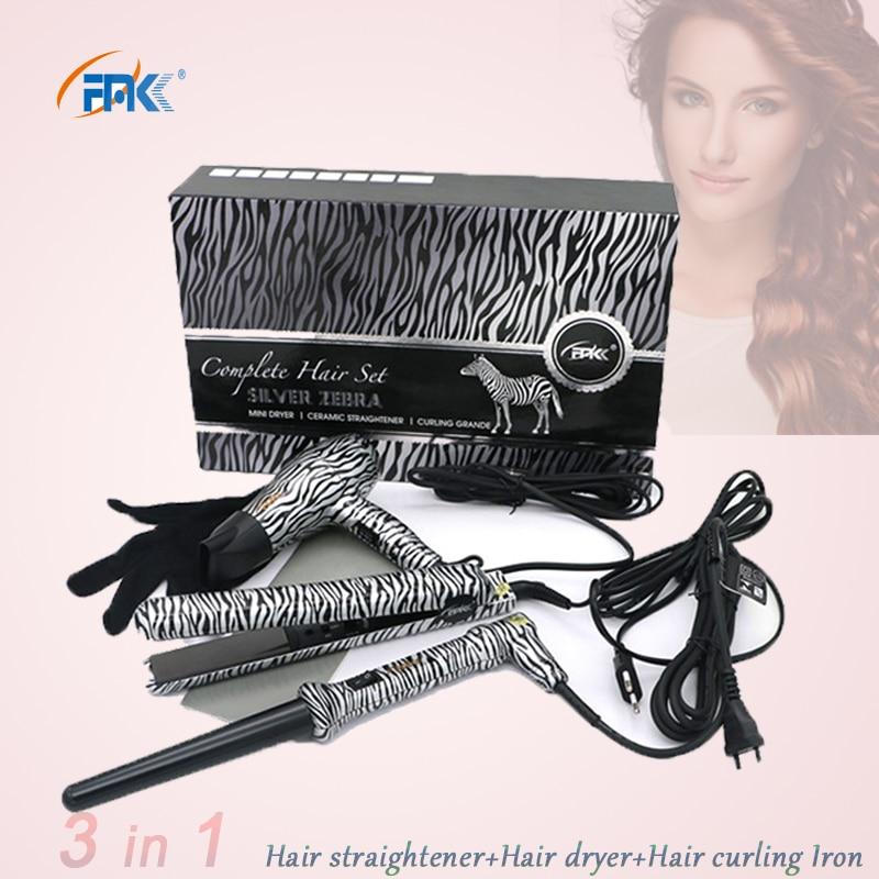 FMK Professional Styling tool Set Hair straightener flat iron+Hair dryer+Curling Iron flat irons wand hot curler european plug