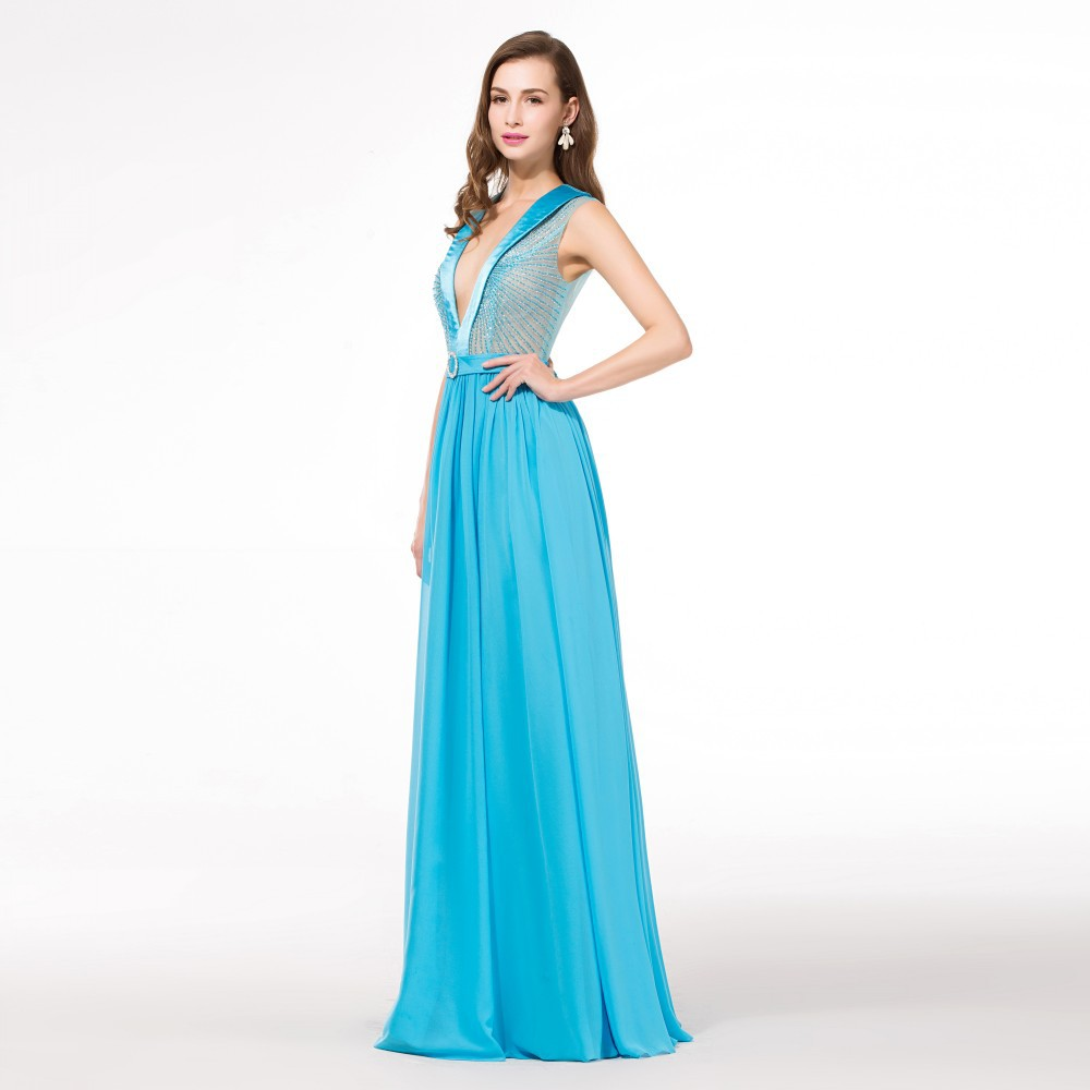 Light Blue Long Cheap Elegant Prom Dresses 2015 Chiffon V Neck ...