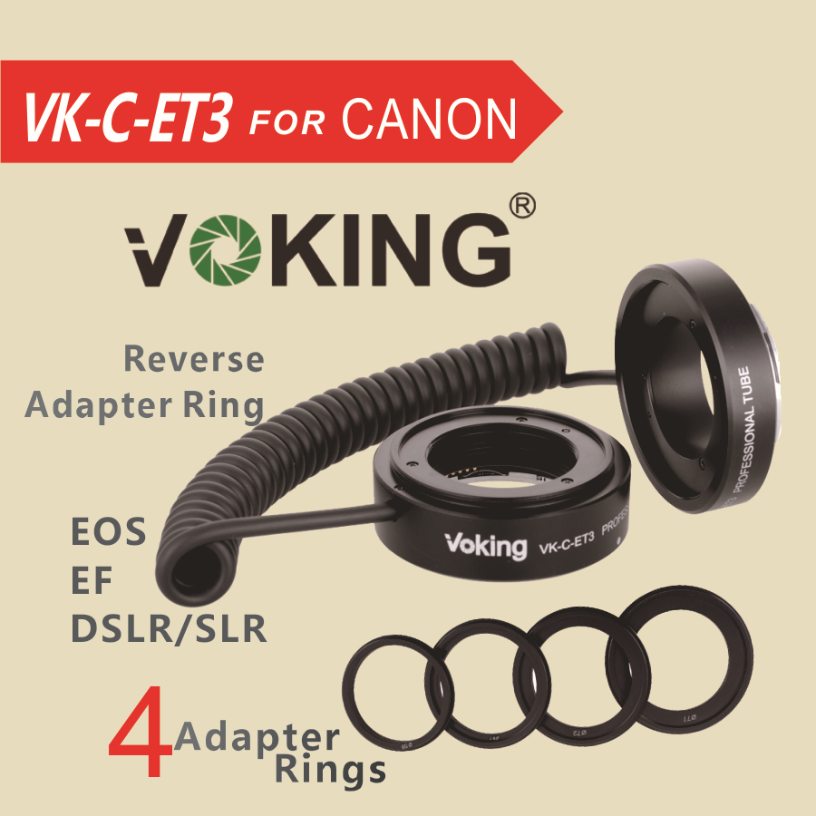 Lentille de bague d'adaptateur d'inversion de Tube d'extension d'af de mise au point automatique de VK-C-ET3 de Voking EF/EF-S pour le Canon 70d 6d 5d mark ii 40d 60d 600d