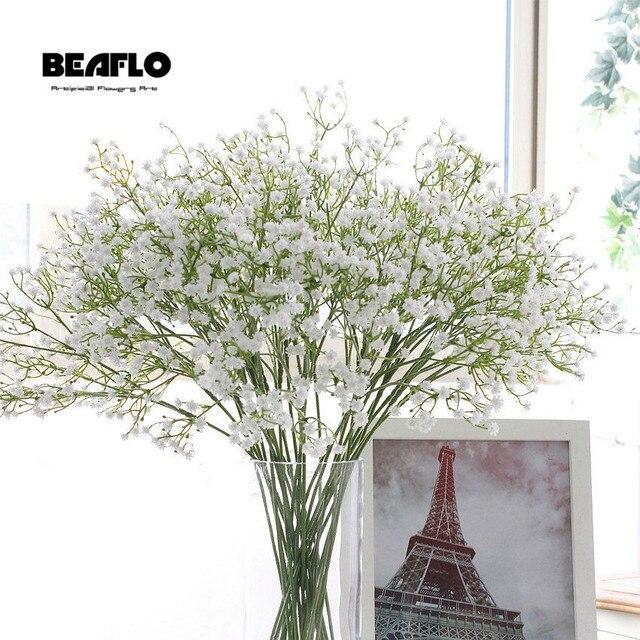 3 piezas DIY Artificial Flor del aliento del bebé Gypsophila planta de silicona falsa para la decoración del partido del Hotel de la boda decoración 5 colores