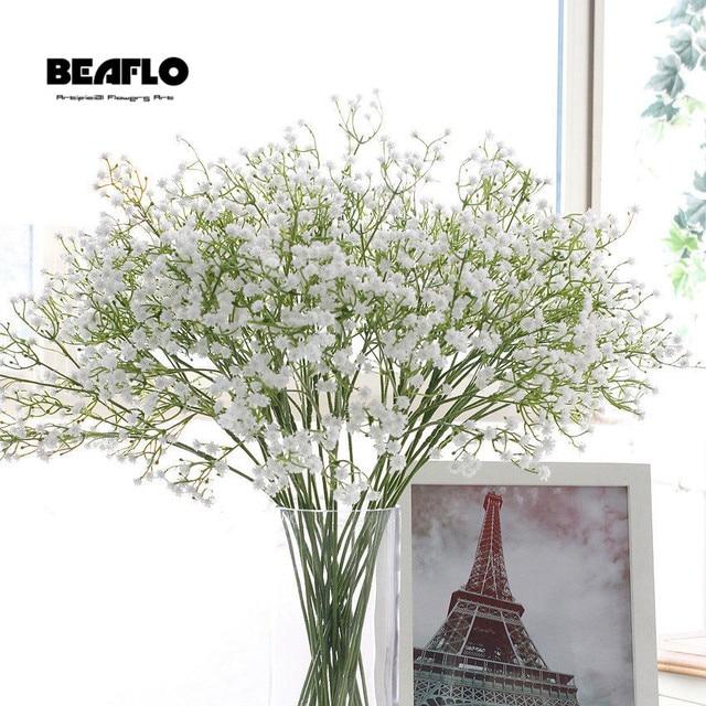 3 piezas DIY Artificial bebé's aliento flor Gypsophila de silicona falso planta para boda casa Hotel Fiesta fiesta decoración de 5 colores