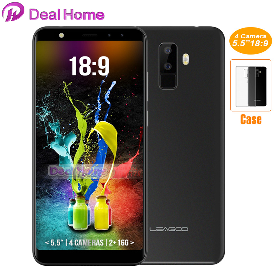 In stock! LEAGOO M9 5.518:9 Full Screen Android 7.0 Four Cams MT6580A Quad Core 2GB 16GB 8MP Fingerprint 3G mobile phone