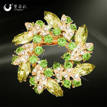Mziking New Crystal Rhinestone Brooches for Women Golden Chinese Redbud Flower Brooch Pins Wedding Jewelry Brooches for Scarf(China)