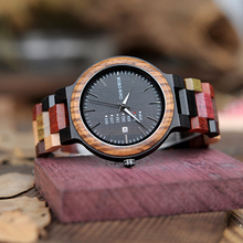 BOBO BIRD Week Display Auto Date Face Wood Watch Men Quartz Wristwatch