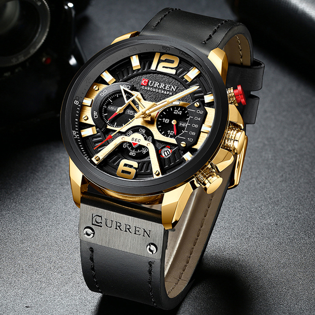 CURREN Casual Sport Watches for Men Blue Top Brand Luxury Military Leather Wrist Watch Man Clock Fashion Chronograph Wristwatch 5
