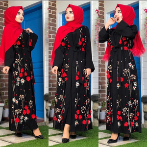Image 2 - Floral Abaya Turkish Kimono Dubai Muslim Hijab Dress Abayas For Women Kaftan Caftan Marocain Prayer Islamic Clothing Robe Femme