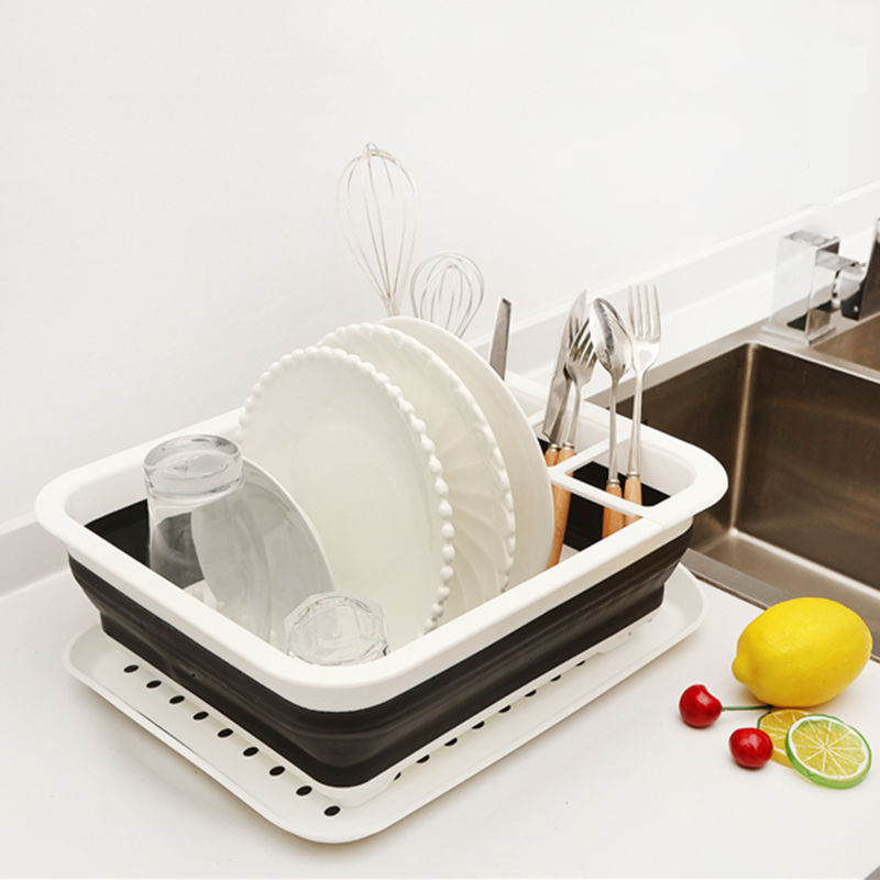 Kitchen Accessories Dish Rack Set Dish Cutlery Cup Rack With Tray Steel Drain Bowl Rack Kitchen Shelf Folding Dish Rack Drainer