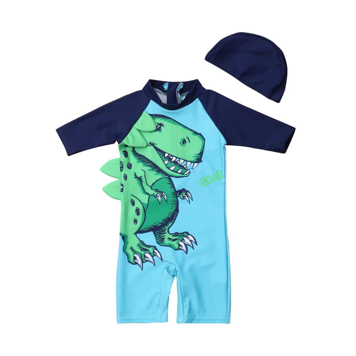 2019 العلامة التجارية الجديدة الرضع طفل طفل 2 قطعة الاطفال الفتيان الشمس واقية ديناصور طباعة ملابس السباحة طفح الحرس زي لباس سباحة 1 -6T